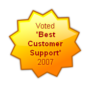 "Voted ""Best  Customer Support""  2007"